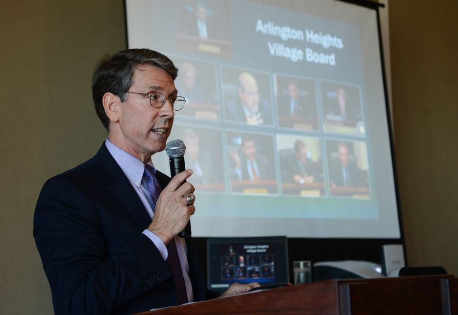 "Arlington Heights Mayor Tom Hayes reported on the state of the village Thursday in an annual address to the Arlington Heights Chamber of Commerce at the Metropolis Ballroom. ""There are many unique businesses in Arlington Heights that provide services and goods to our community,"" Hayes said."