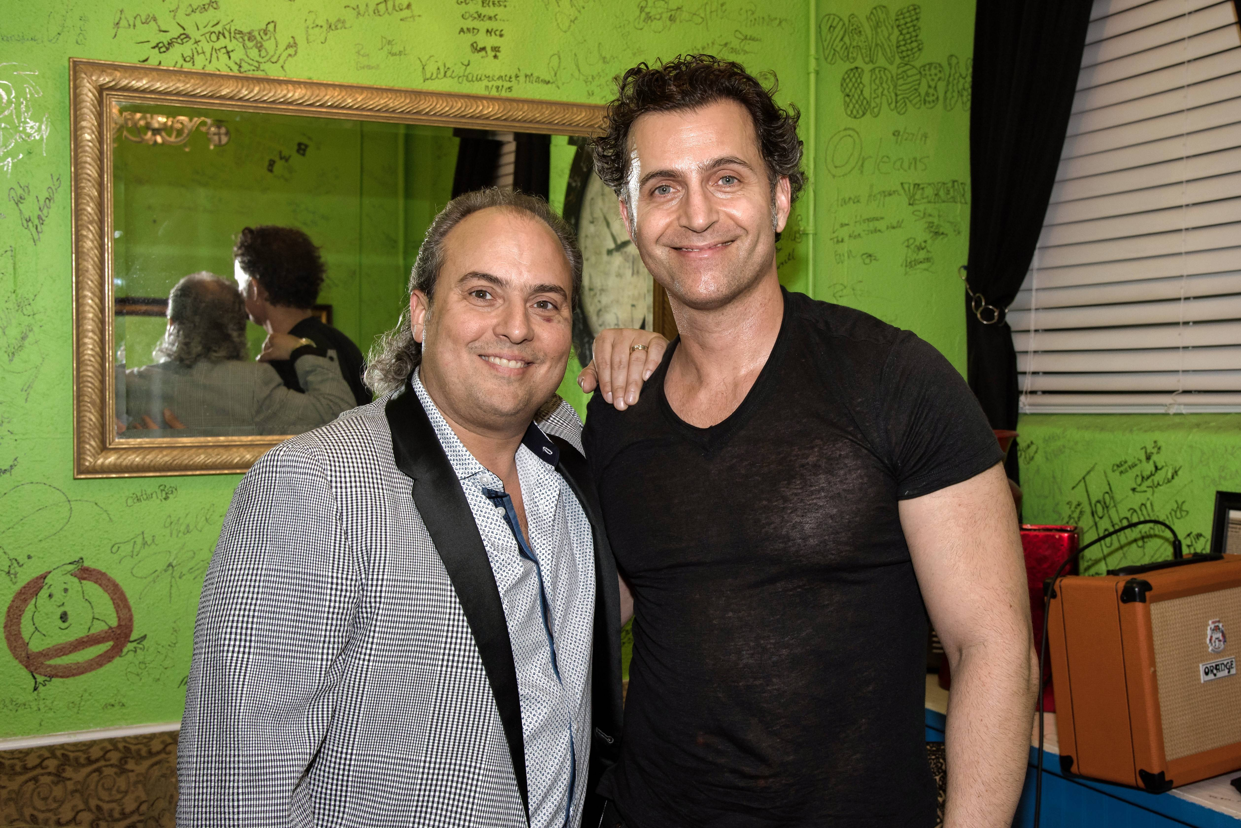 Ron Onesti, left, recently welcomed musician Dweezil Zappa to the Arcada Theatre in St. Charles, where he performed a tribute to his father, Frank Zappa, and also taught a master class in guitar.