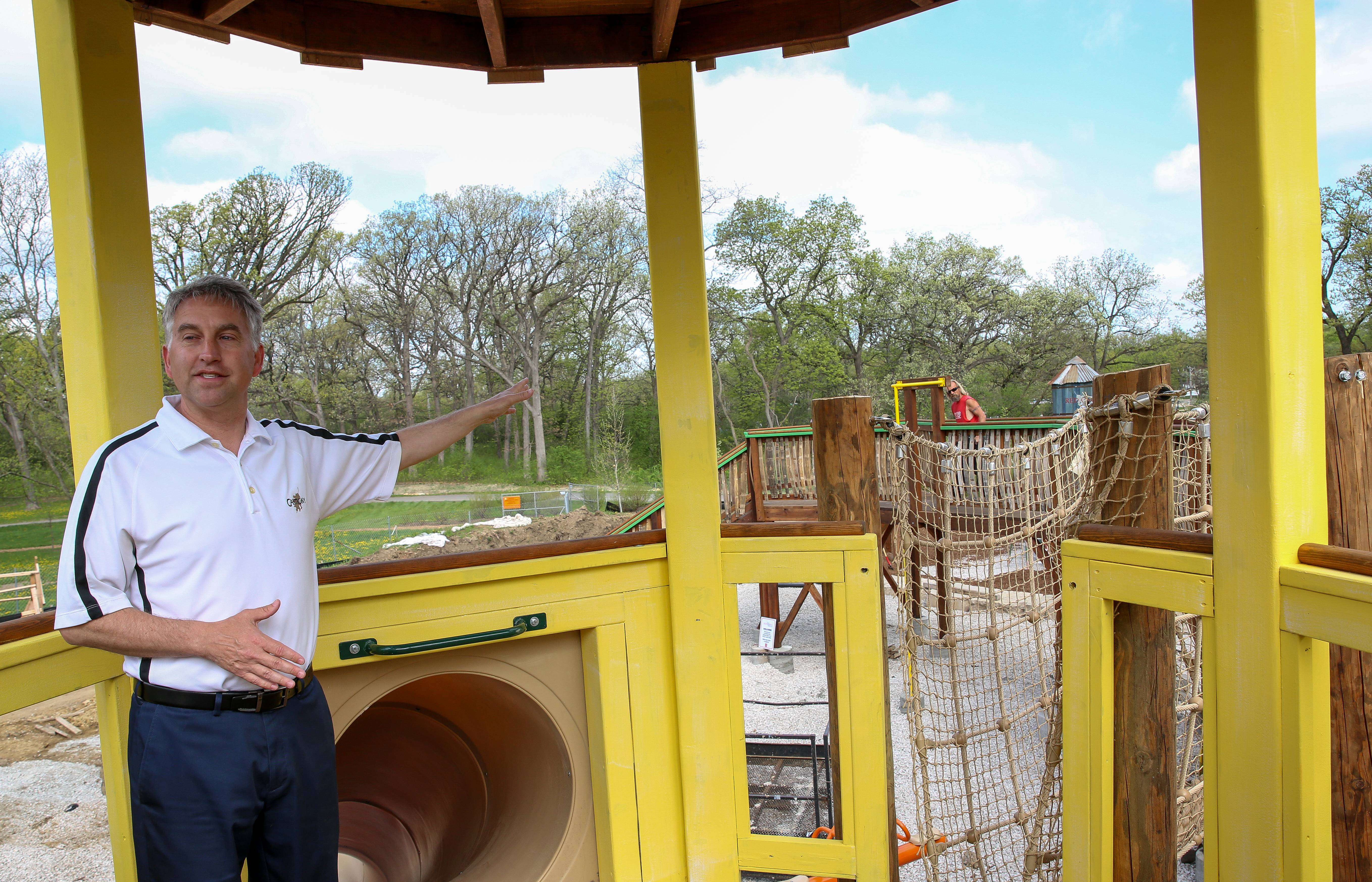 Executive Director Matt LaFond shows off Cantigny's Red Oaks Farm playground, a new attraction opening Memorial Day weekend.