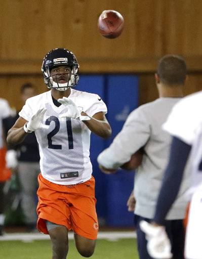 Chicago Bears defensive back Michael Joseph catches a pass during the NFL football team's rookie minicamp Friday, May 11, 2018, in Lake Forest, Ill.