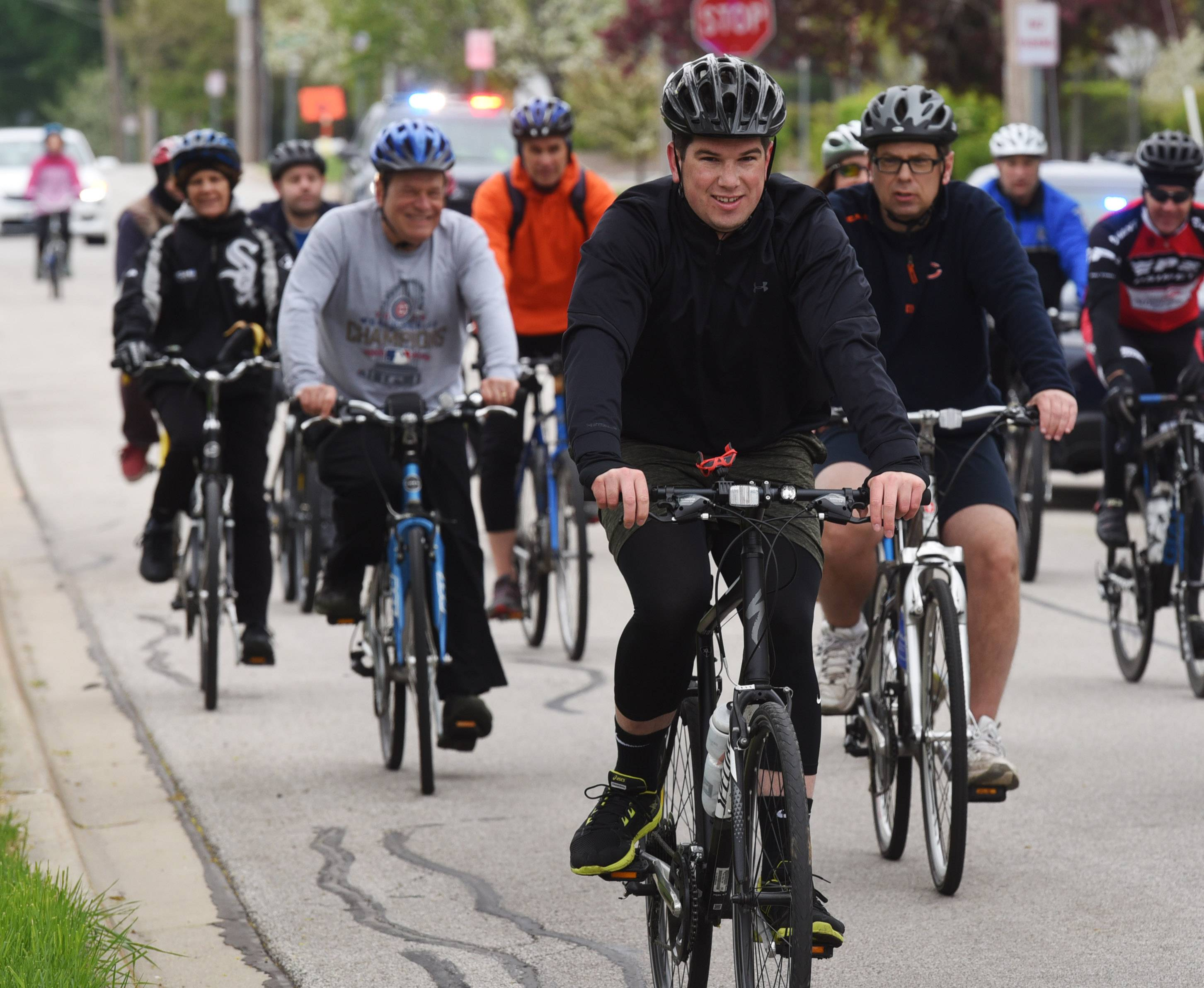 Damp weather conditions didn't keep about a dozen cyclists away from the Bike Arlington Heights Bike Ride Saturday morning that started and finished at North School Park.