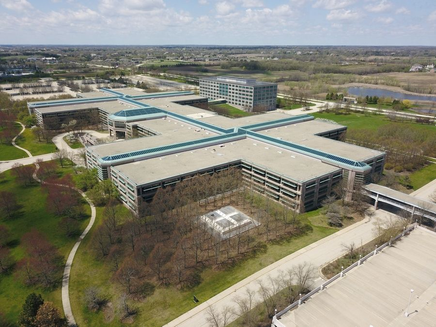 An aerial view of the AT&T campus in Hoffman Estates.