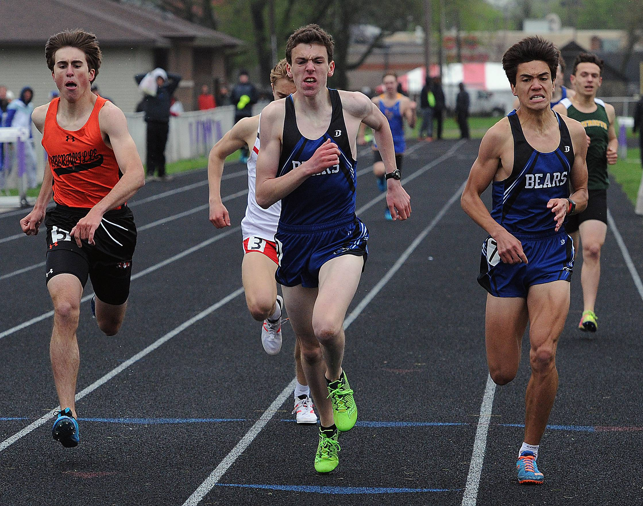 Sean Ginn (middle) of Lake Zurich leads the pack for a win in the 800-meter run at the NSC meet in Waukegan. Ginn is flanked by teammate Drake Heisterkamp, right, and Libertyville's Austin Becker.