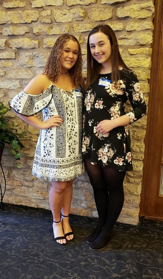 Gamma Xi Chapter Foundation for Educational Pursuits names its newest grant recipients, Abigail DeDina of Hampshire High School, left, and Rhianna Christensen of Bartlett High School.