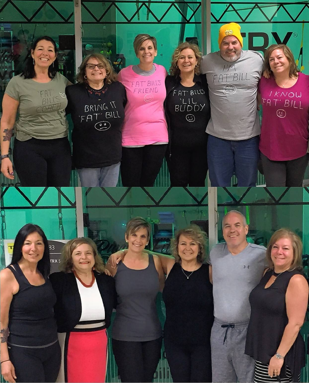 Elk Grove Park District's Elk Strong shows off their before (top) and after pictures. From left to right: Aileen Tischauser, Jennifer LoBosco, Irene Faciano, Leigh Ferstein, Bill O'Malley, and Brenda Piscopo.