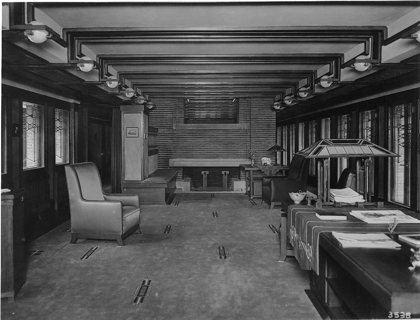 The living room of the Frederick C. Robie House, circa 1910. (Frank Lloyd Wright, 1908-1910)