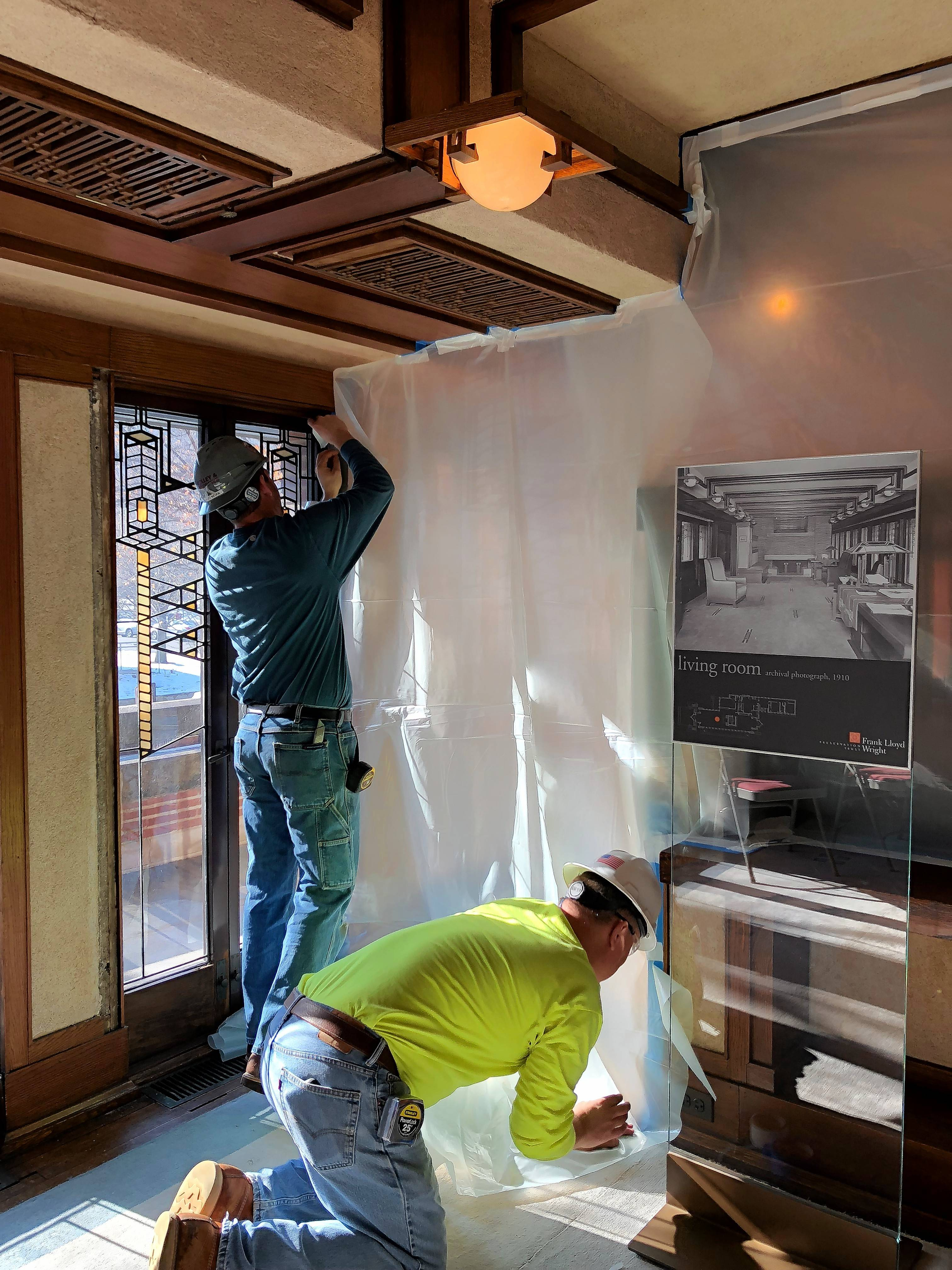 The Robie House living room area is curtained off as interior restoration begins on Jan. 8. The western portions of the main floor and ground floor are being restored during the first phase.