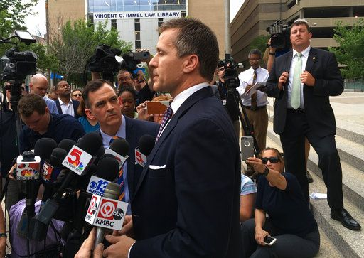 Missouri Gov. Eric Greitens speaks at a new conference outside court on Monday, May, 14 2018, in St. Louis. Prosecutors on Monday abruptly dropped an invasion-of-privacy charge against Greitens but say they hope to refile the case. The surprise move came at the end of a third day of jury selection for the Republican governor's trial.