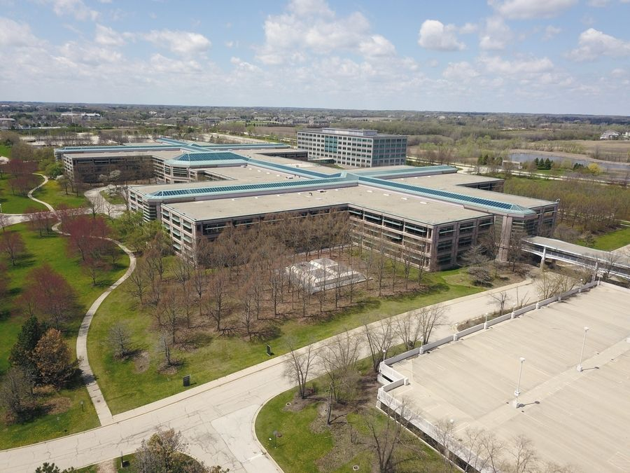 Aerial view of the AT&T campus in Hoffman Estates.