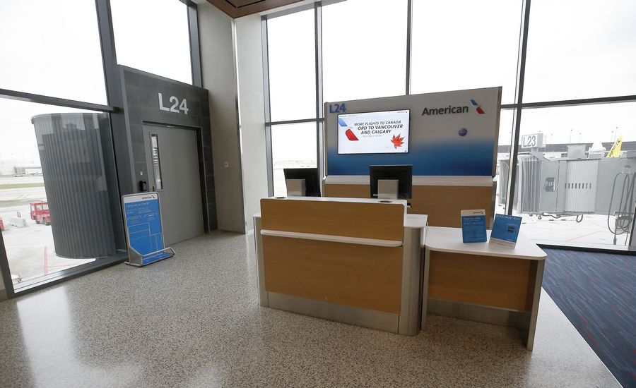 Five new gates for American Airlines flights are open for passengers at O'Hare International Airport.