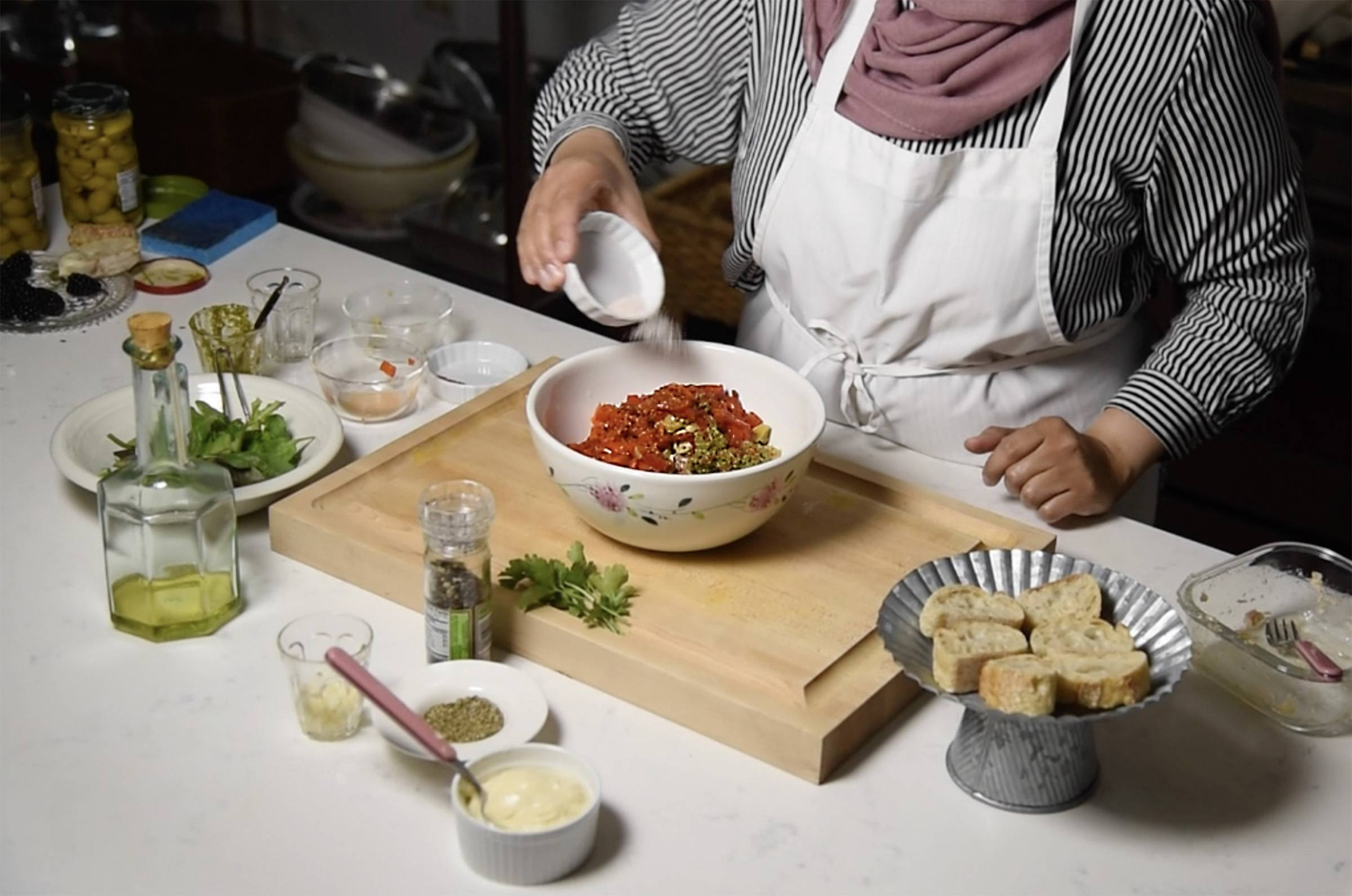 Food blogger Yvonne Maffei prepares her Ramadan recipes at her Crystal Lake home using ethnic spices and ingredients. Her kitchen is rigged for recording how-to videos for her blog, in which she focuses on healthy cooking for Ramadan.