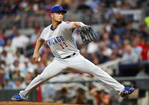 Chicago Cubs starting pitcher Yu Darvish (11) works in the third inning of a baseball game against the Atlanta Braves Tuesday, May 15, 2018, in Atlanta.
