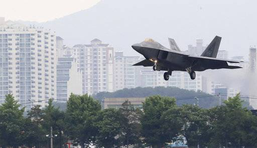 A U.S. F-22 Raptor stealth fighter jet lands as South Korea and the United States conduct the Max Thunder joint military exercise at an air base in Gwangju, South Korea, Wednesday, May 16, 2018. North Korea on Wednesday canceled a high-level meeting with South Korea and threatened to scrap a historic summit next month between President Donald Trump and North Korean leader Kim Jong Un over military exercises between Seoul and Washington that Pyongyang has long claimed are invasion rehearsals. (Park Chul-hog/Yonhap via AP)