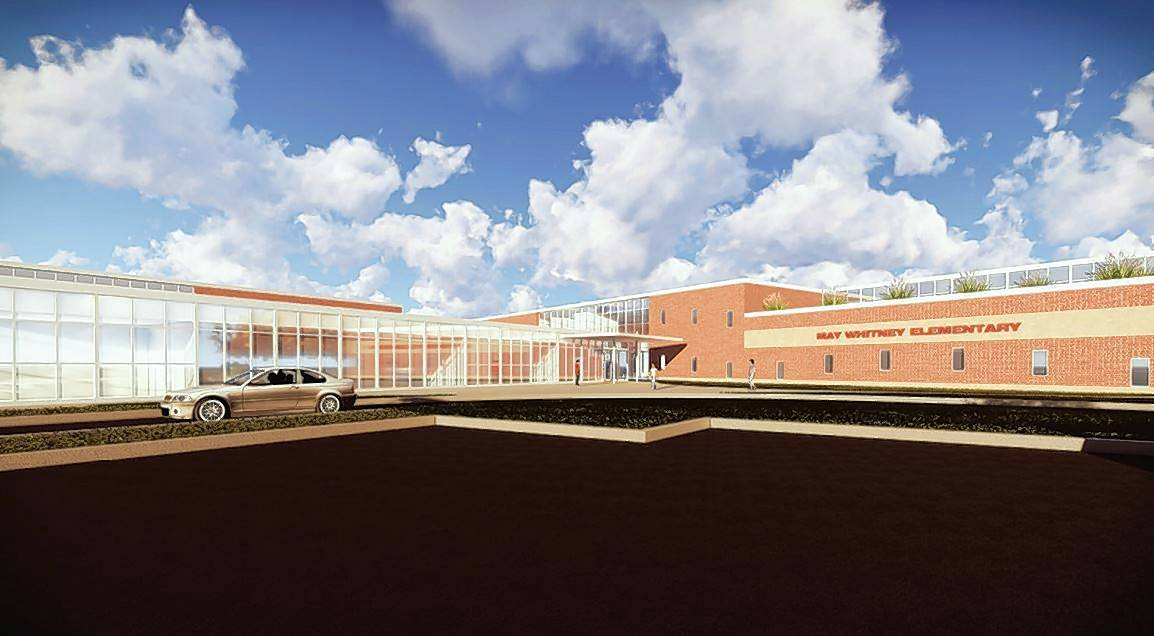 This rendering depicts what the new May Whitney Elementary School might look like now that a $77.6 million bond issue has been approved. The final design will be voted on by the school board in the fall.