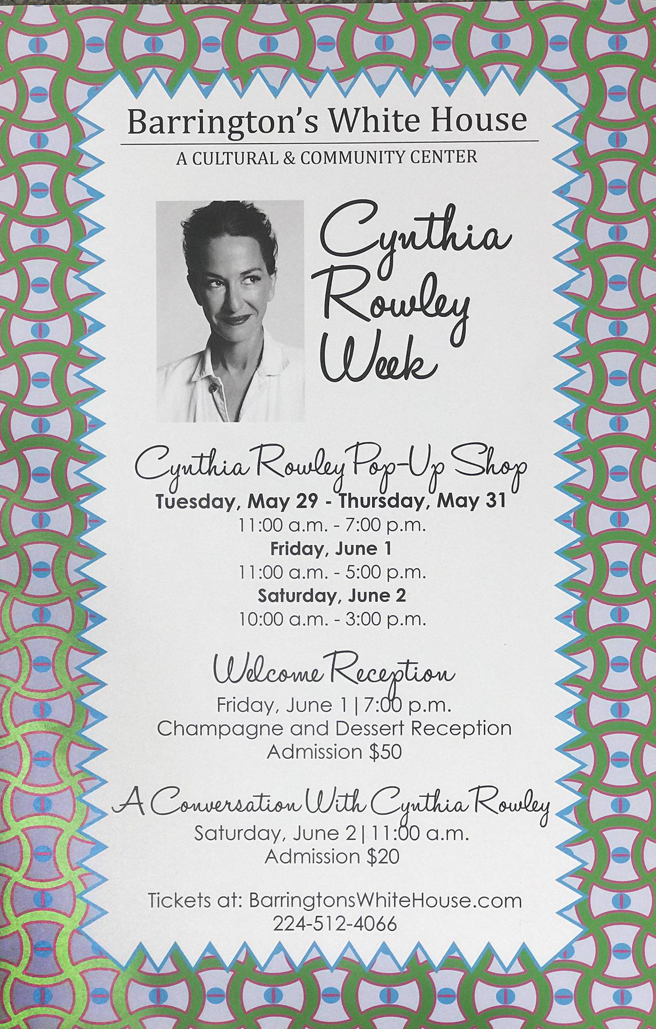 "This poster will be going up across Barrington to promote ""Cynthia Rowley Week"" running from May 29 through June 2. Barrington is Rowley's hometown."