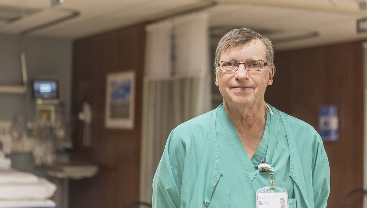 Interventional Radiology Technologist Tim Auten retires from Northwestern Medicine Central DuPage Hospital after 40 years of service.