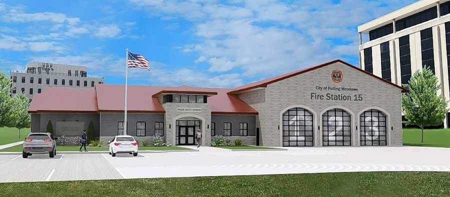A sketch revealed Tuesday shows the proposed new Fire Station 15 at 3201 Algonquin Road in Rolling Meadows. Construction is set to begin in August.