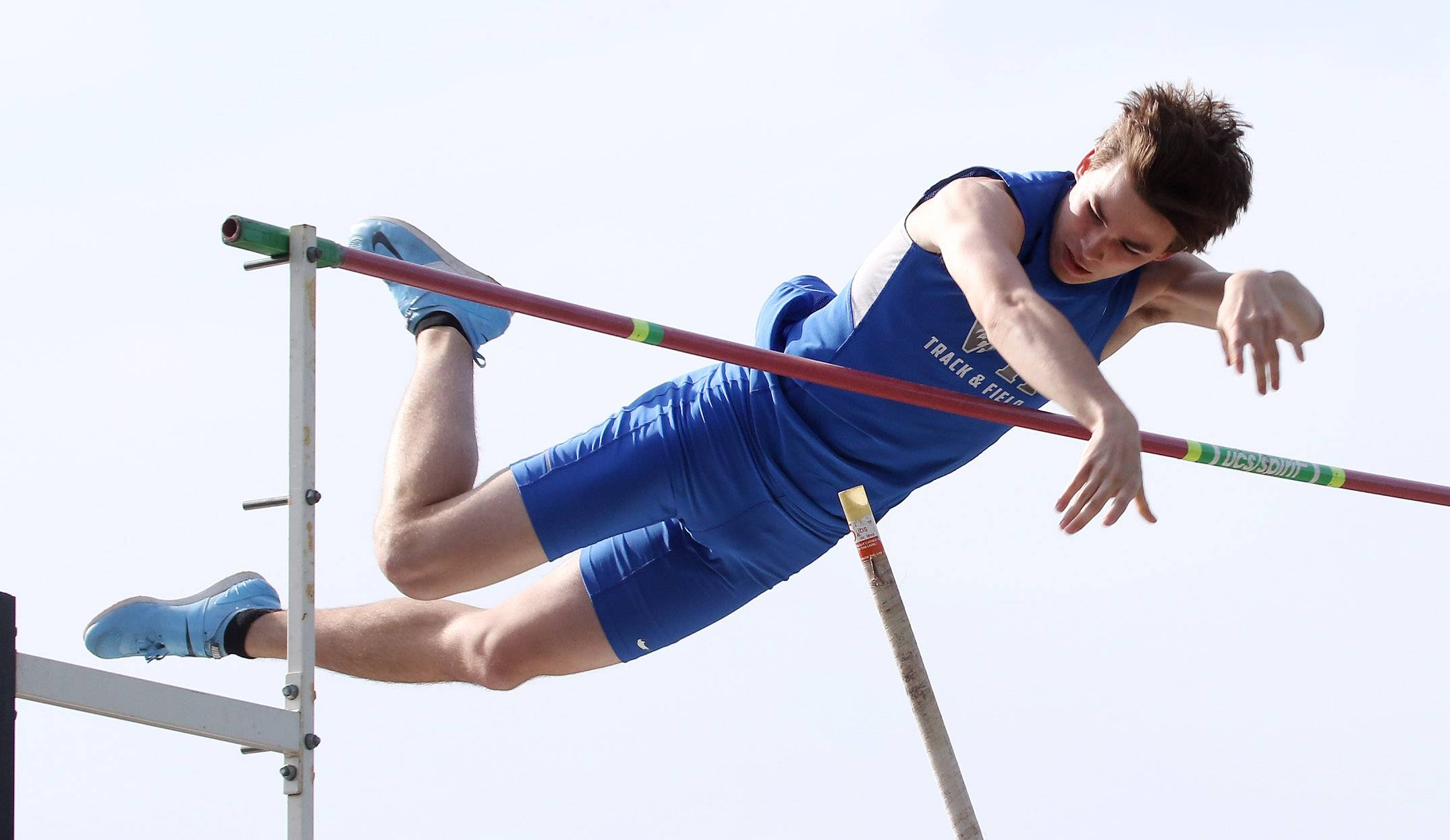 Vernon Hills pole vaulter Patrick Sear clears the bar during the Class 3A Grayslake North boys track sectional Thursday.
