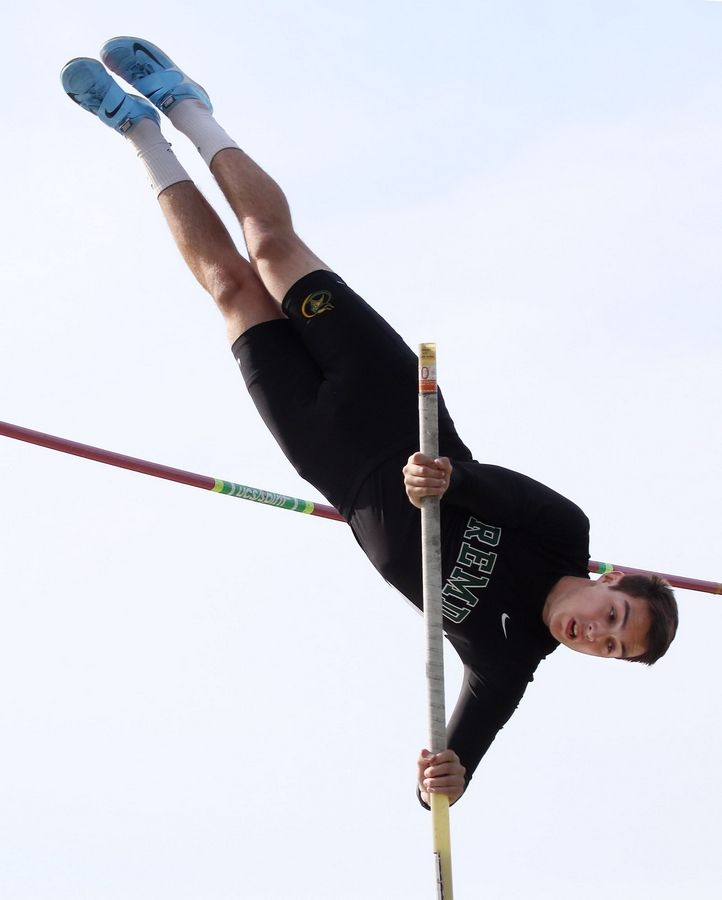 Fremd pole vaulter James Leahy clears the bar during the Class 3A Grayslake North boys track sectional Thursday.