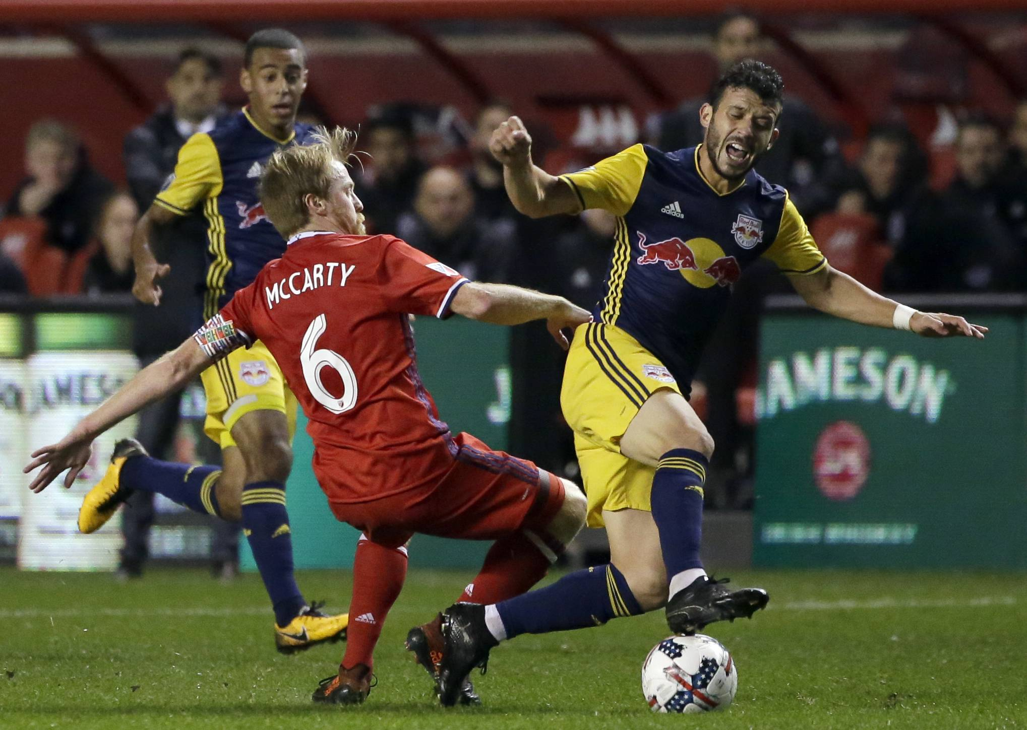 Chicago Fire midfielder Dax McCarty, left, is expected to be out 3-4 weeks with a hamstring injury, team officials said Thursday,