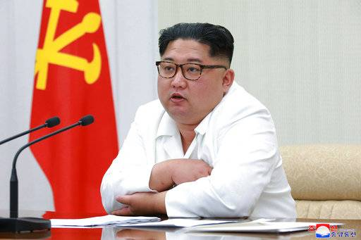 "ADDS TO CLARIFY THE DATE WAS WHEN IT WAS PUBLISHED, NOT WHEN PHOTOGRAPHED - In this photo provided on Thursday, May 18, 2018, by the North Korean government, North Korean leader Kim Jong Un speaks during a meeting of the 7th central military commission at an undisclosed place in North Korea. Independent journalists were not given access to cover the event depicted in this image distributed by the North Korean government. The content of this image is as provided and cannot be independently verified. Korean language watermark on image as provided by source reads: ""KCNA"" which is the abbreviation for Korean Central News Agency. (Korean Central News Agency/Korea News Service via AP)"