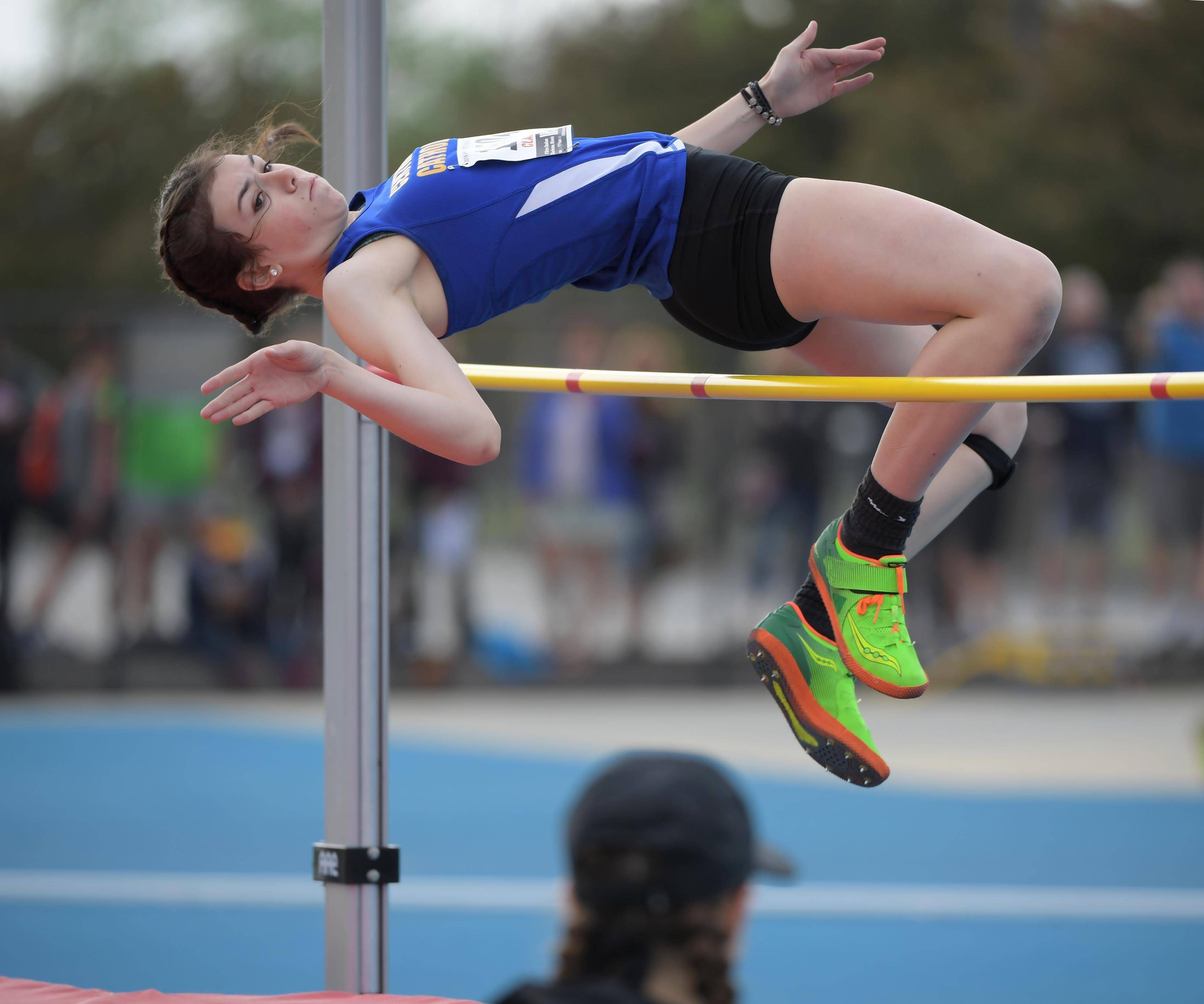 Aurora Central Catholic's Ella Englehardt in the Class 2A high jump.