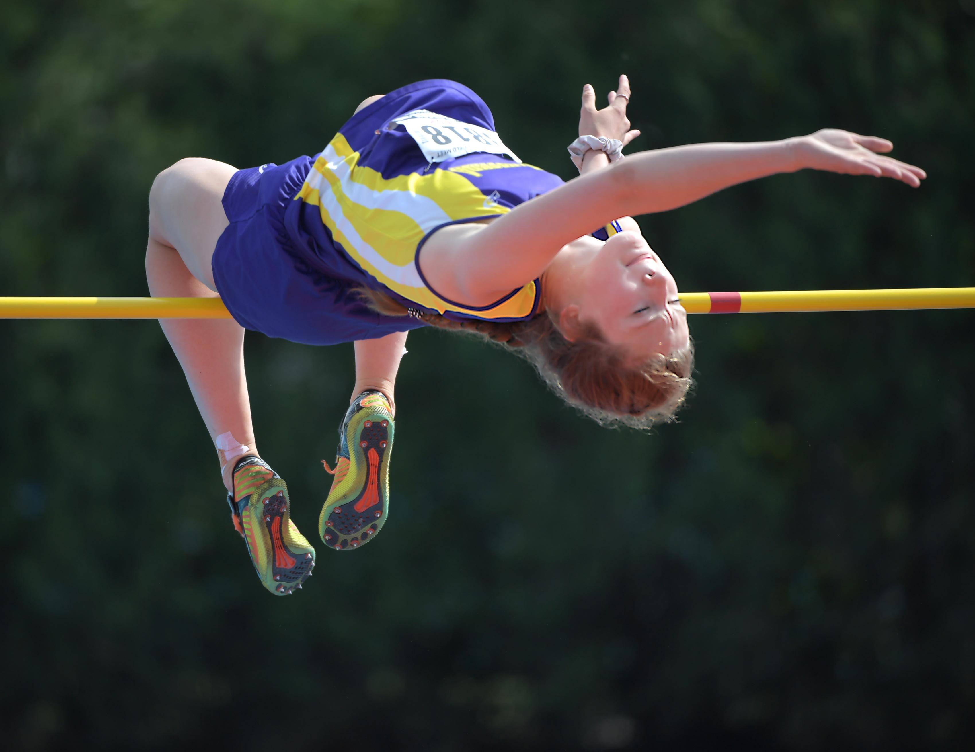 Wauconda's Grace Daun clears the bar to win a state championship in the Class 3A high jump of the girls track and field state finals on Saturday at Eastern Illinois University in Charleston.