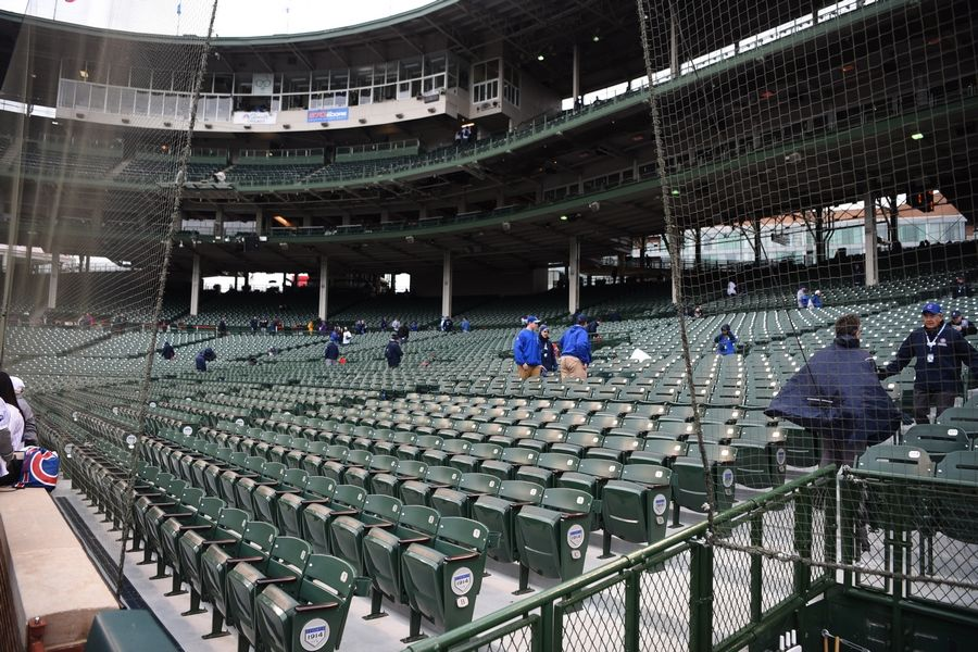 Protective netting has been extended to the end of the dugouts at Wrigley Field in Chicago.