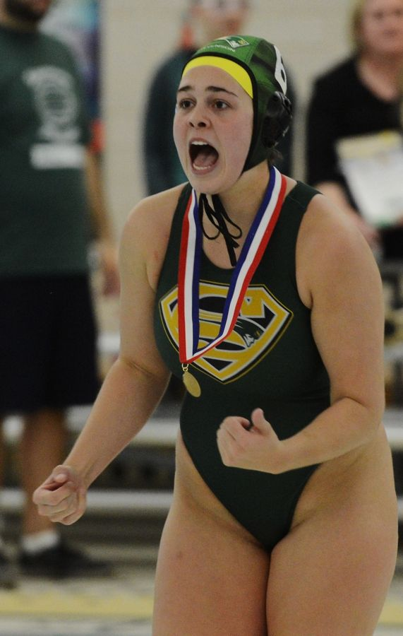 Stevenson senior Claire Haas celebrates after receiving her state championship medal following Saturday's victory over Fenwick.