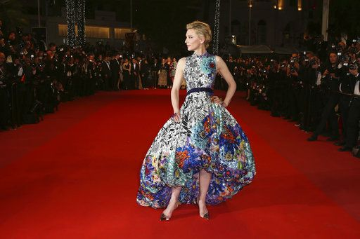 245f6b6971 Jury president Cate Blanchett wears a blue floral gown by Mary Katrantzou  at the premiere of