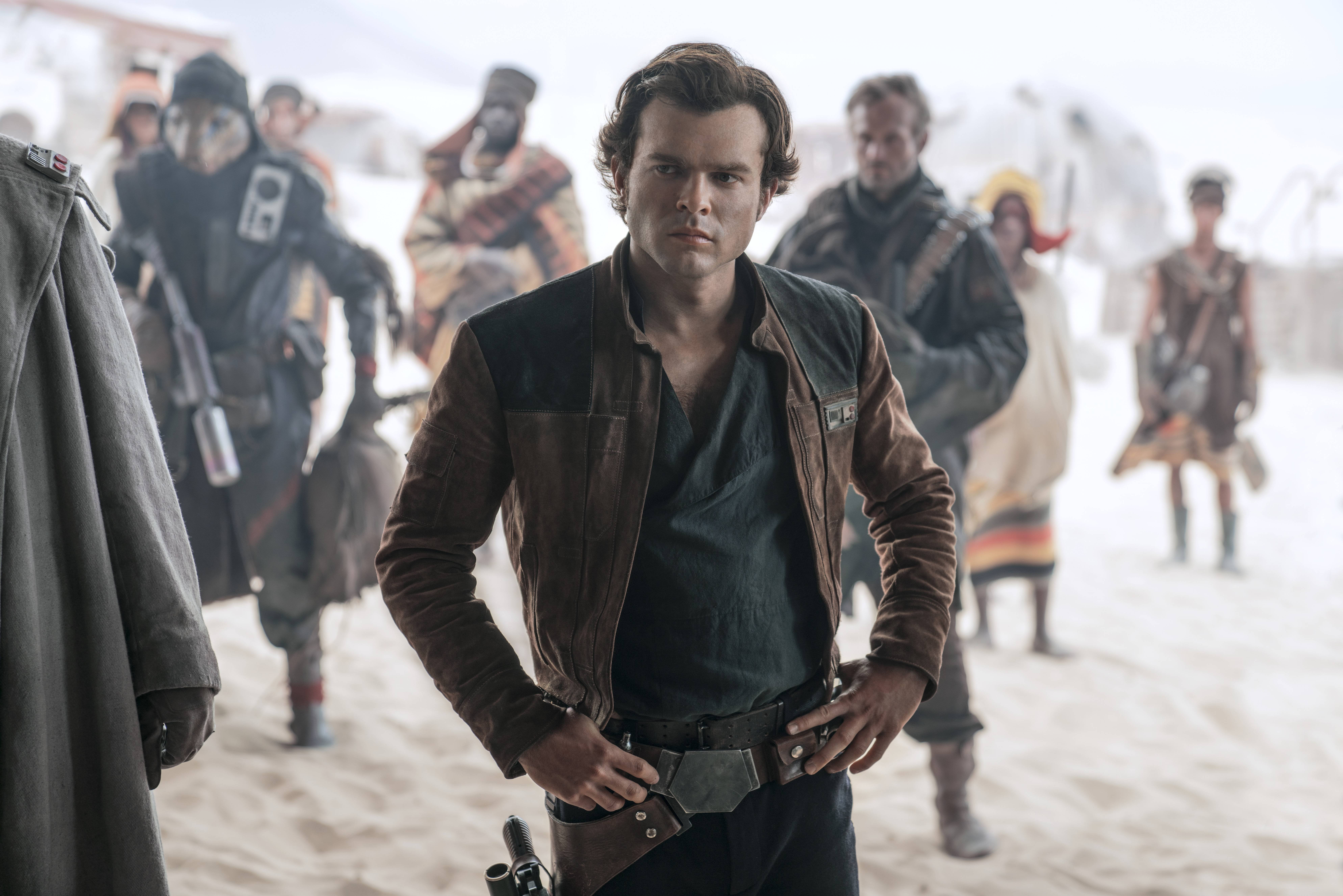 "Han Solo (Alden Ehrenreich) tries to make a go of a smuggling career in ""Solo: A Star Wars Story."""