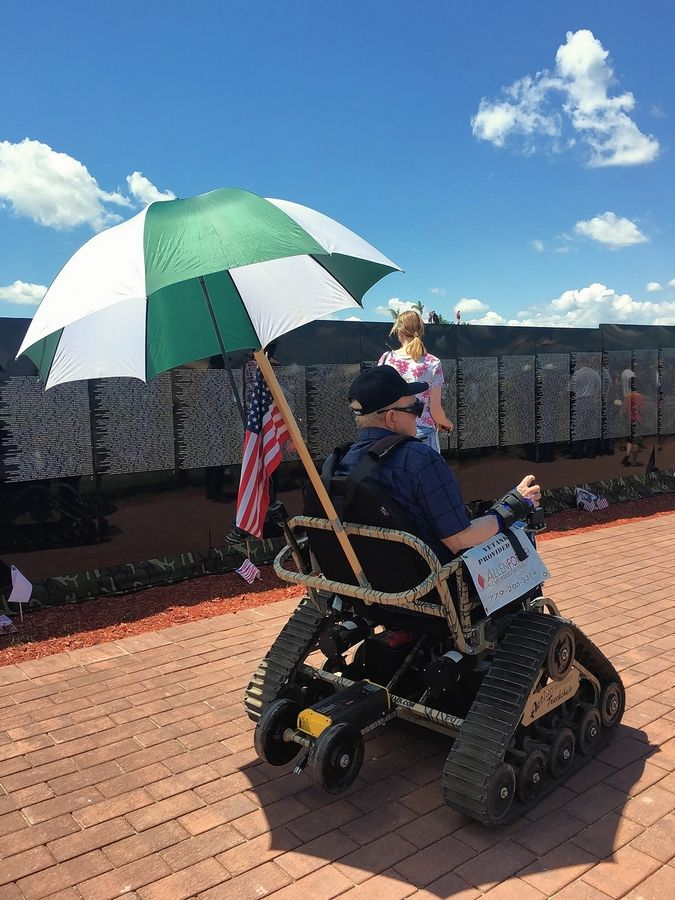 "The ""VETANK"" accessibility chairs a Plainfield-based nonprofit is bringing to Ribfest this summer in Naperville come equipped with large umbrellas to shade the rider from the sun. Leaders of AllenForce say the umbrellas are important because many older veterans are taking medications that make them sensitive to sunlight."