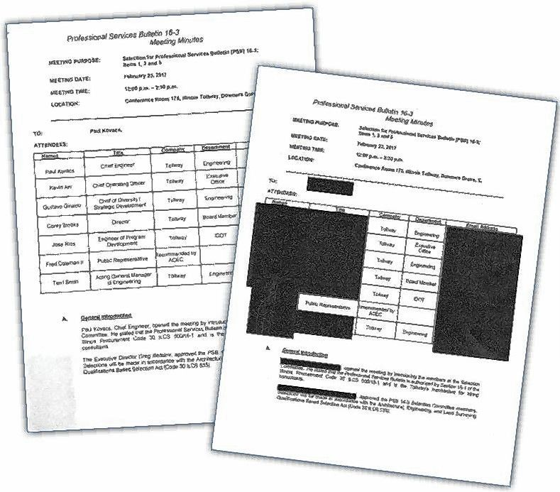 Names of participants on a professional contract selection committee are blacked out in documents recently provided by the Illinois tollway, but were not redacted on an earlier copy.