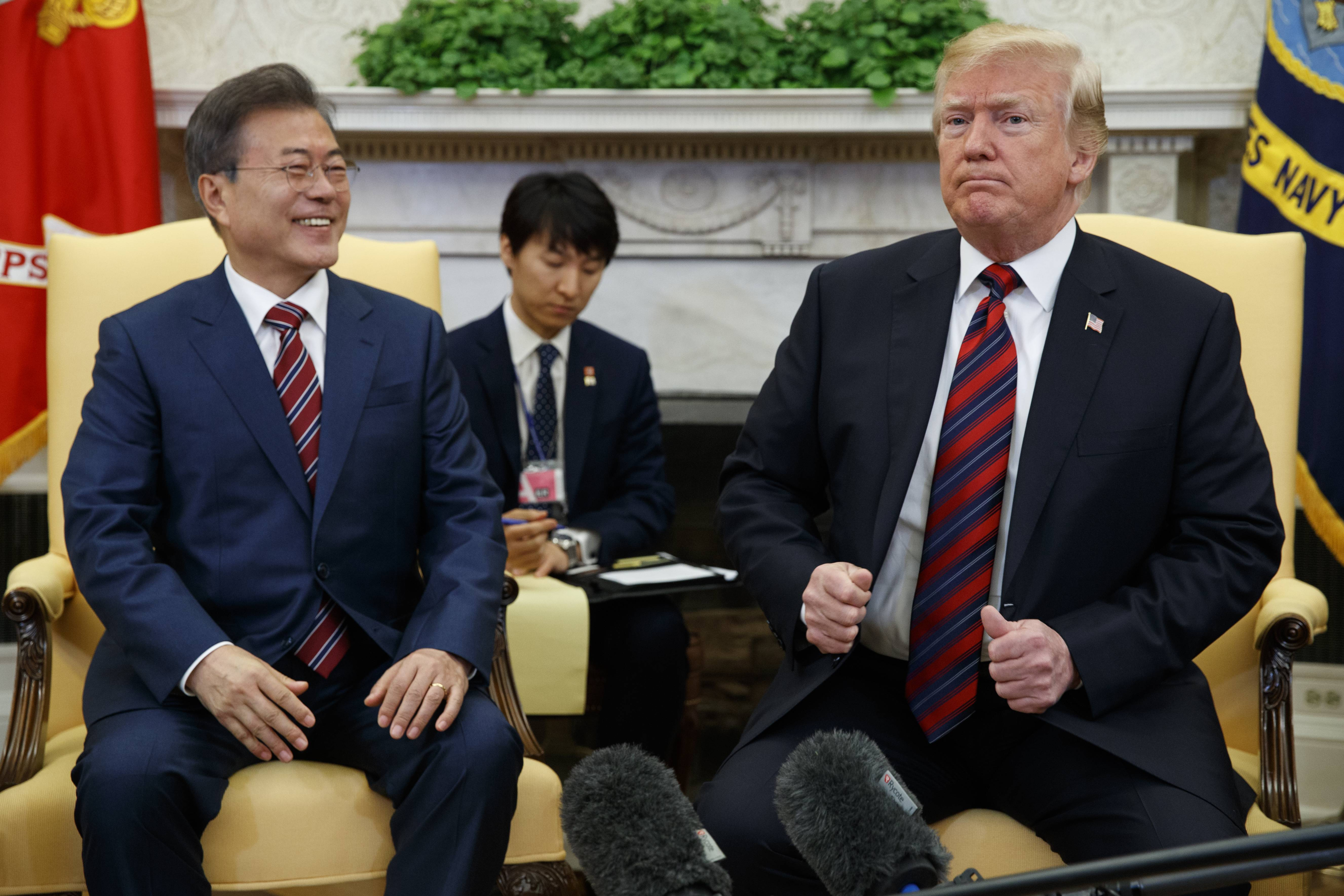 President Donald Trump meets with South Korean President Moon Jae-In in the Oval Office of the White House, Tuesday, May 22, 2018, in Washington.