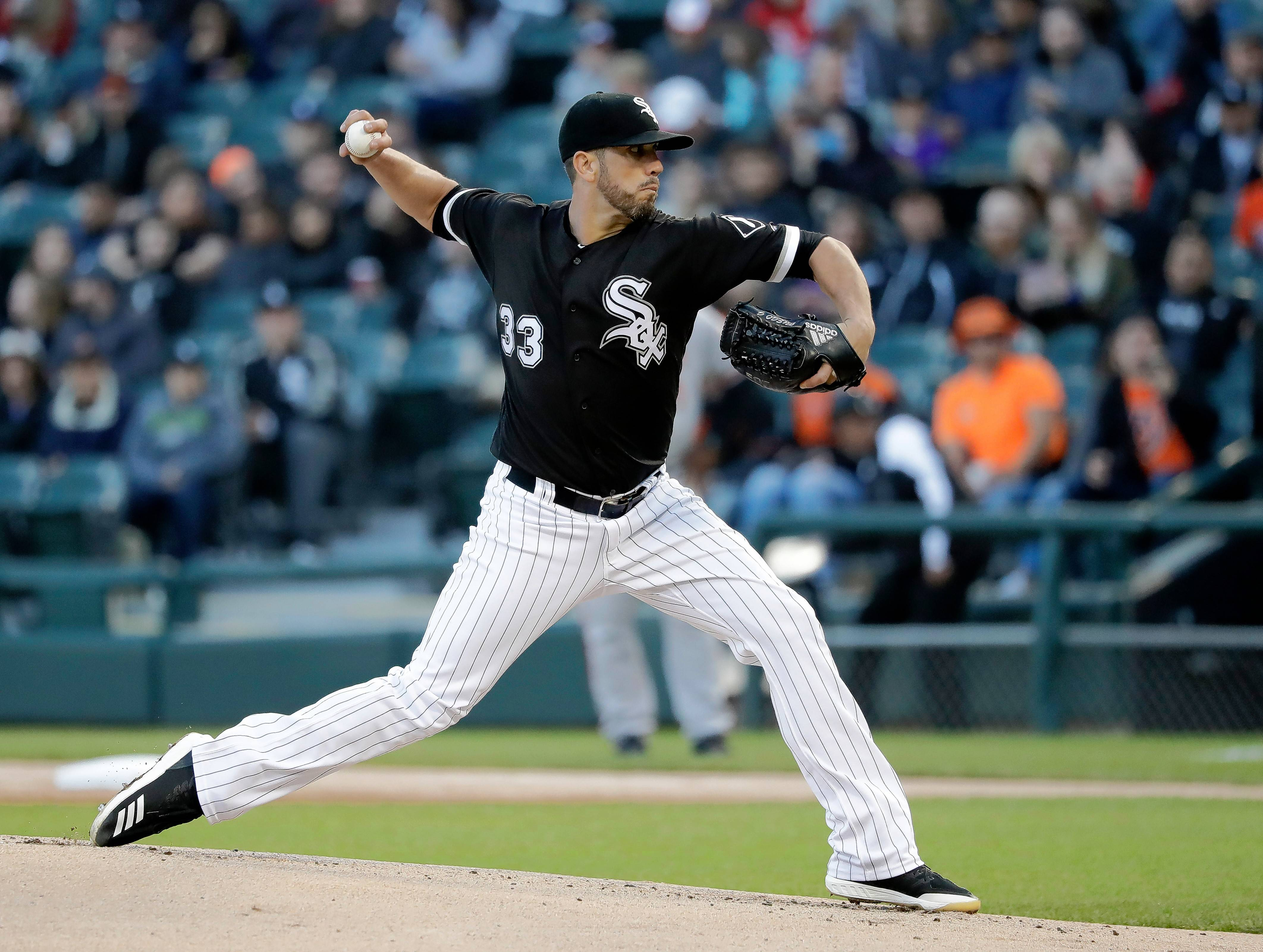 Chicago White Sox starting pitcher James Shields delivers during the first inning of a baseball game against the Baltimore Orioles Tuesday, May 22, 2018, in Chicago.