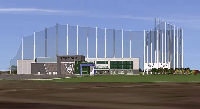 A rendering of the newly approved Topgolf facility, including outdoor hitting bays, to be built within the Veridian development on the former Motorola Solutions campus in Schaumburg.
