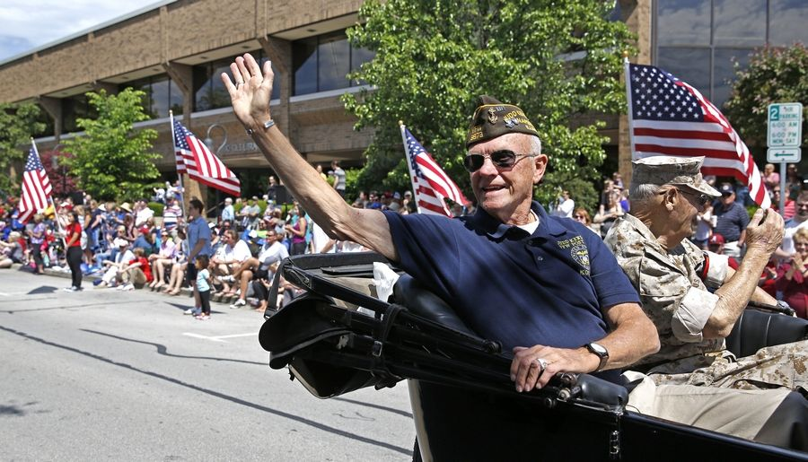 Veterans groups will lead the way Monday during the Naperville Memorial Day Parade. Veterans also will pause near the beginning of the route to lay a wreath at Veterans Plaza along the Riverwalk and throw a wreath into the west branch of the DuPage River.