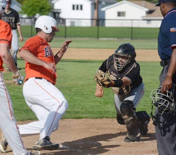Buffalo Grove S Mac Camardo Gets Tagged Out By Grayslake North Catcher Austin Delao On A Play