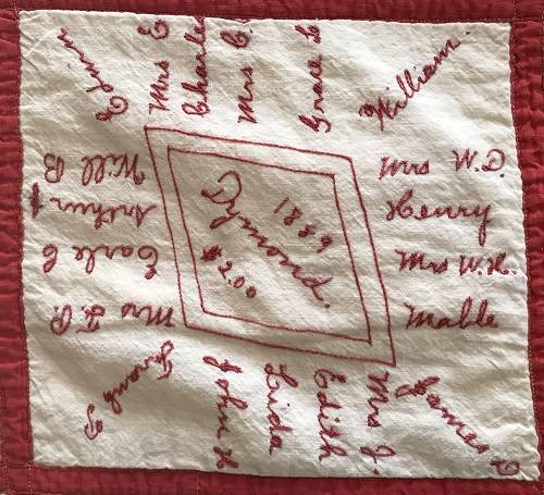 The Dymond family square from the 1889 Union Church Signature Quilt in the collection of the Libertyville-Mundelein Historical Society.