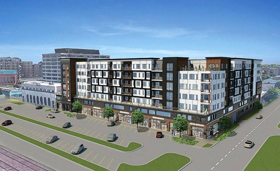 A rendering shows plans for a seven-story apartment building with space for restaurants at Ellinwood and Graceland avenues in Des Plaines. Aldermen approved an exception Monday that allows the development to have fewer parking spaces than typically required under city ordinance.