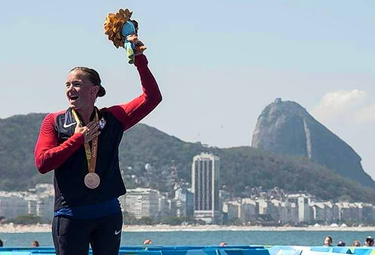 Melissa Stockwell takes the podium to receive her bronze medal in paratriathlon at the 2016 Paralympics in Rio de Janeiro.