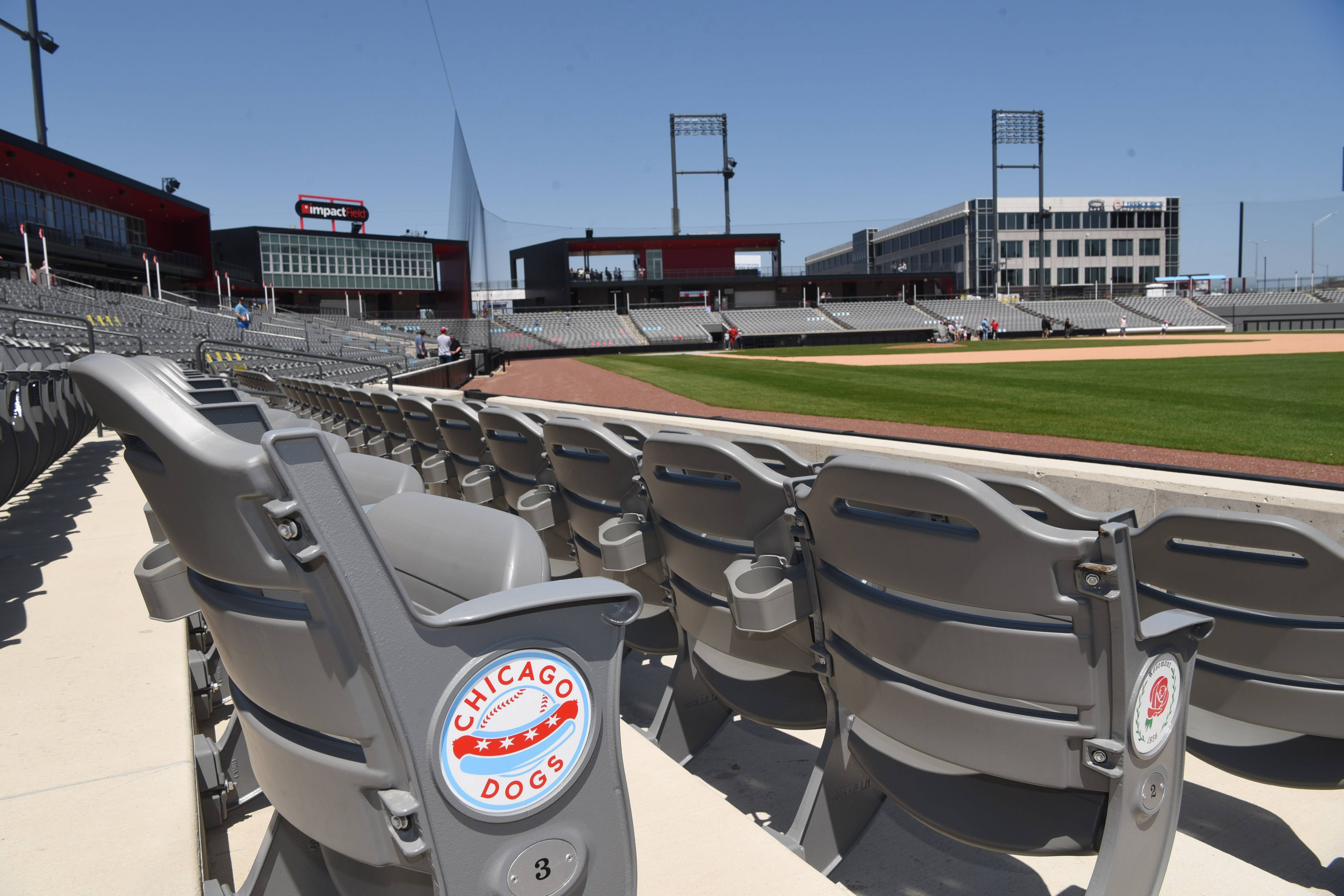 Here's a wiew from the seats along the right field line at Impact Field in Rosemont, the new stadium built for the Chicago Dogs baseball team. The Dogs will host the Kansas City T-Bones in their inaugural home opener on Friday.