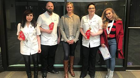 Pictured, from left, are Maria Vasquez, Jason Kelly, COD Cosmetology Instructor Melissa Victor, Mandy Hill and Shenna Gomez