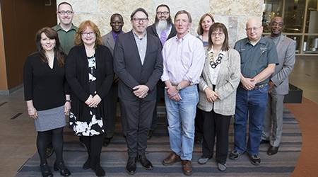 Sixteen faculty members and advisers were recognized as the 2017-18 Outstanding Faculty Members and Outstanding Advisers at College of DuPage. Pictured, from left, are: Lynda Randa, Cory DiCarlo, Mary Konkel, Edison Wells, Christopher Schneberger, Stephen Thompson, Tom Carter, Donna Gillespie, Andrea Polites, Jim Filipek, and Robert Nichols.