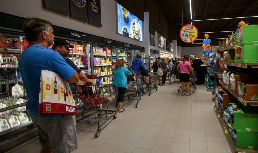 1b9de08ca Lines for the checkout snaked around the back of the new Aldi store Friday  in Naperville