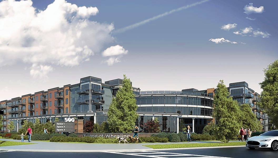 A rendering shows plans for Uptown 500, a development with 321 apartments and 10,500 square feet of commercial space at the intersection of Dundee Road and Northgate Crossing in Wheeling.