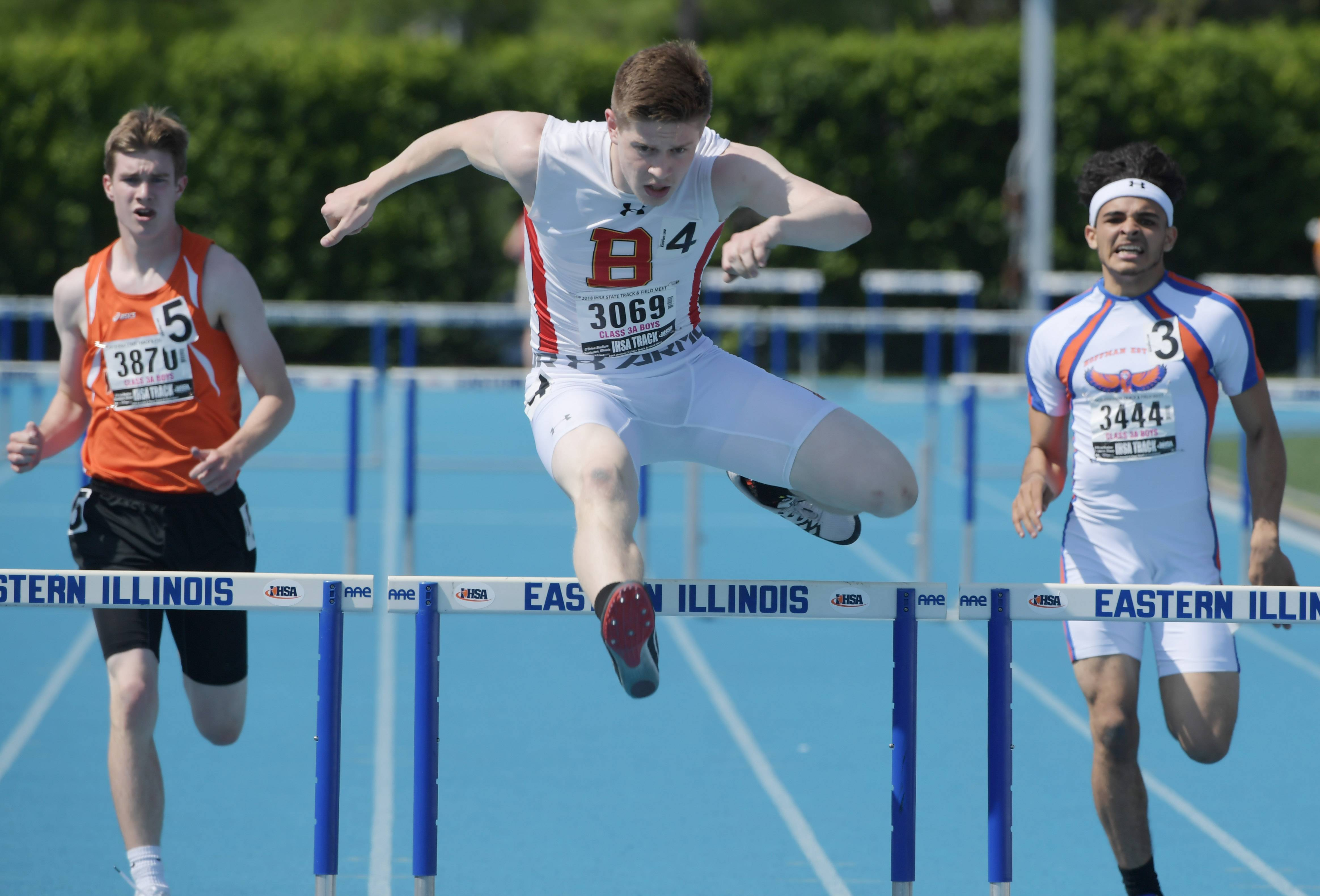 Batavia's Sam Conger competes in the 300-meter intermediate hurdles during the Class 3A boys state track and field prelims in Charleston Friday.