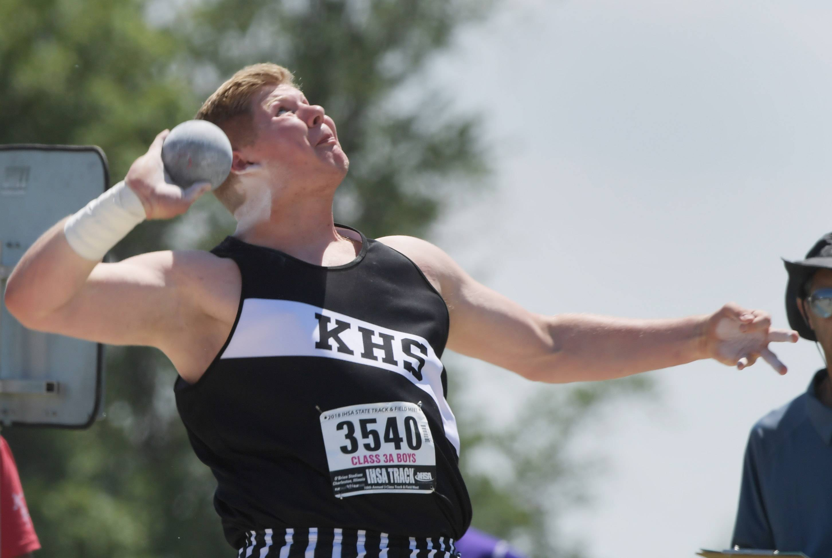 Kaneland's Clayton Hannula competes in the shot put during the Class 3A boys state track and field prelims in Charleston Friday.