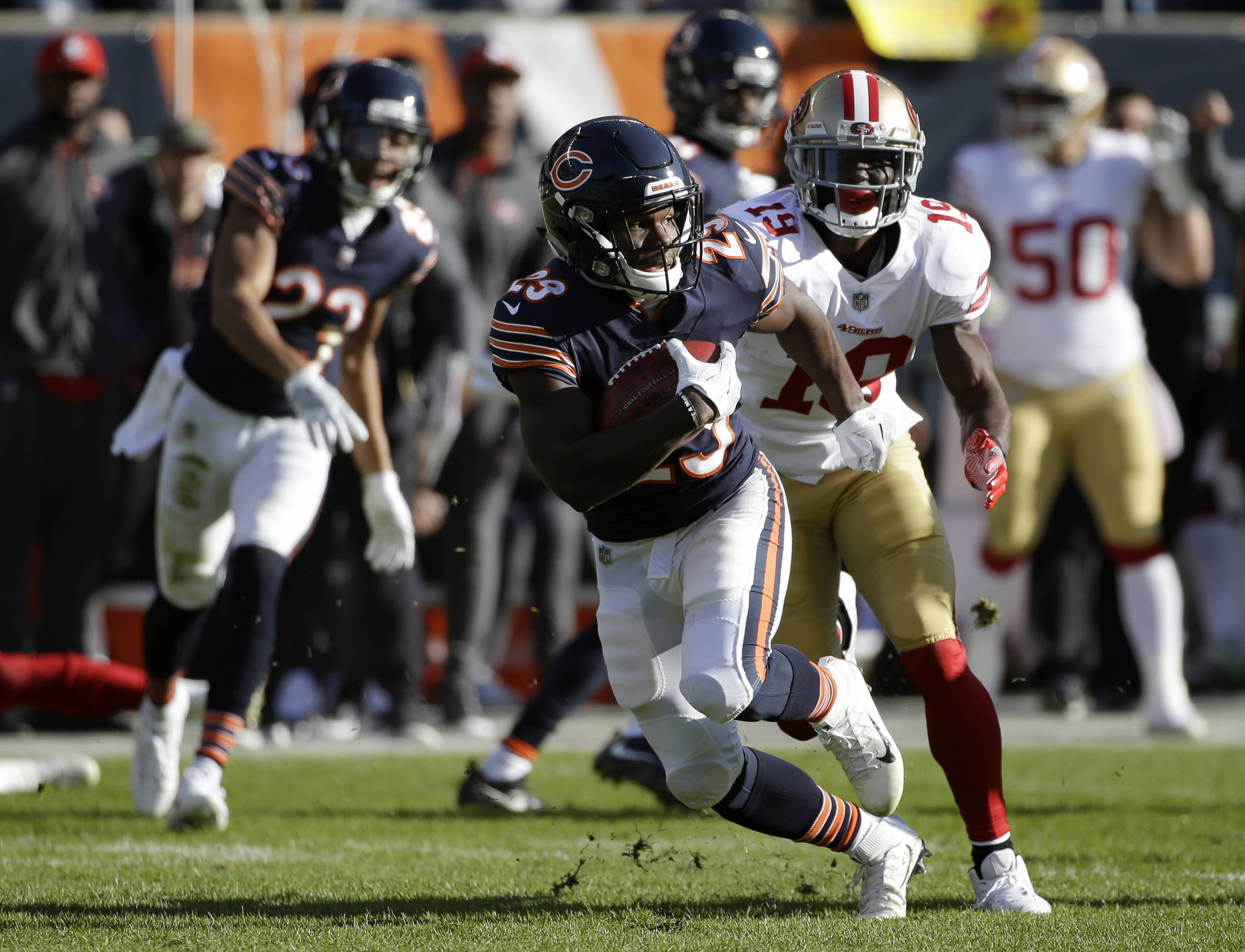 "Chicago Bears running back Tarik Cohen was second on the team last season with 53 receptions, second in rushing with 370 yards on 87 carries and was the team's number one returner on punts and kickoffs. Under new head coach Matt Nagy, Cohen said he's ""everywhere on the field right now, so there's no telling the things I'm going to be doing."""