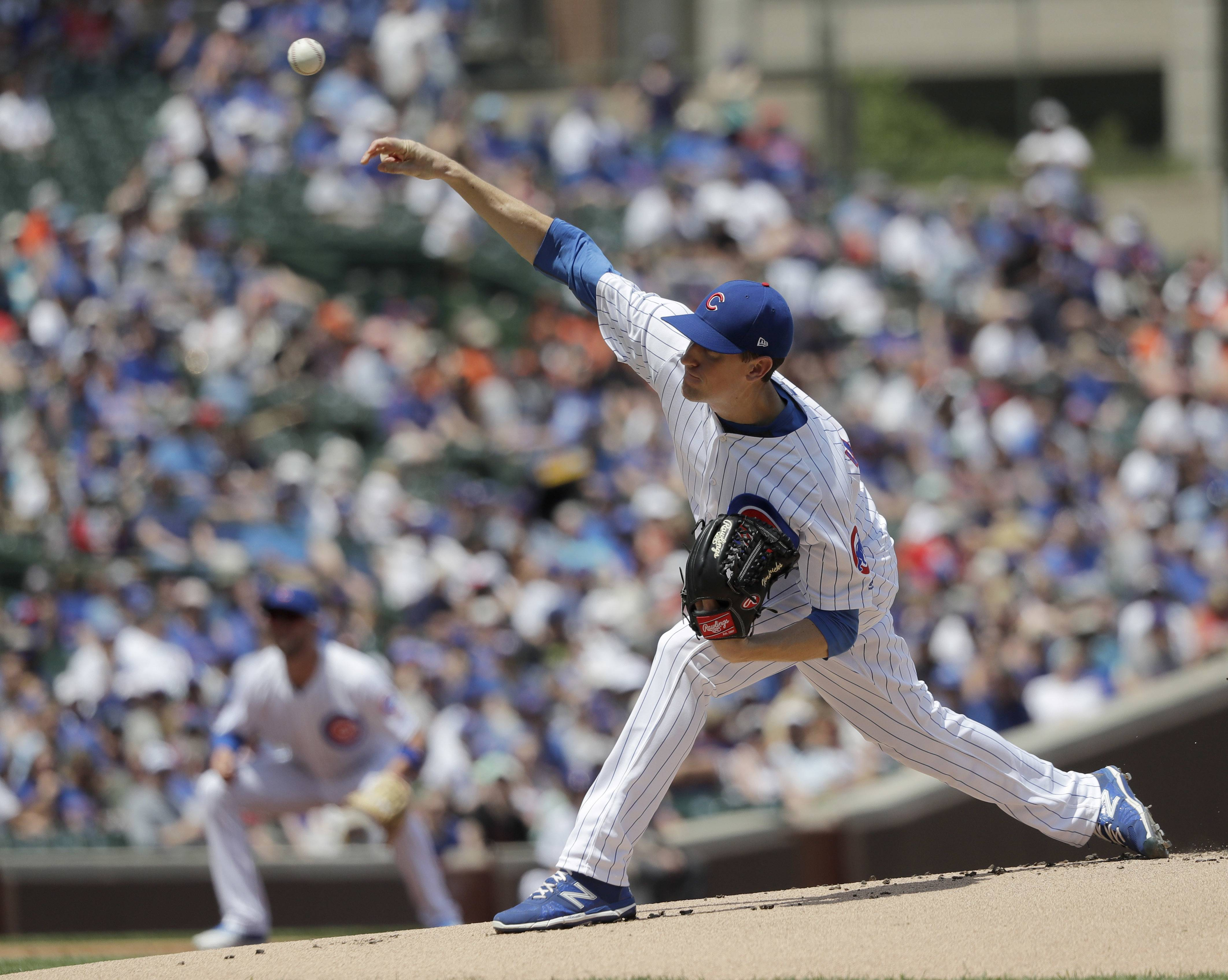 Chicago Cubs starting pitcher Kyle Hendricks delivers during the first inning of a baseball game after the game Friday, May 25, 2018, in Chicago. (AP Photo/Charles Rex Arbogast)